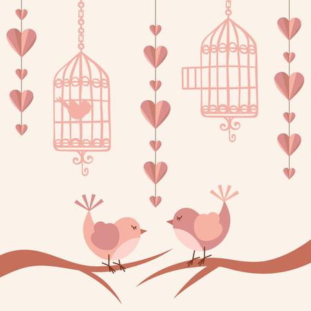 aves caricatura: Tarjeta del amor con los pájaros Vectores