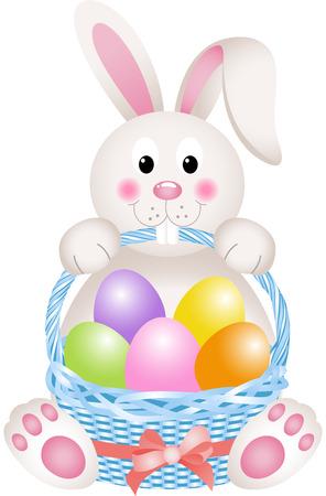 Bunny holding eggs Easter basket Stock Illustratie