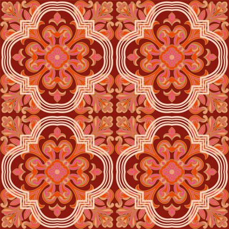 retro floral: Seamless retro patterns red