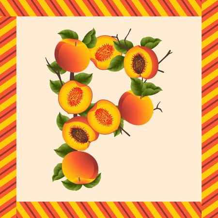 comiendo fruta: melocotones para hacer etiquetas letra P