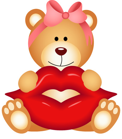 kiss lips: Teddy bear girl holding lips Illustration