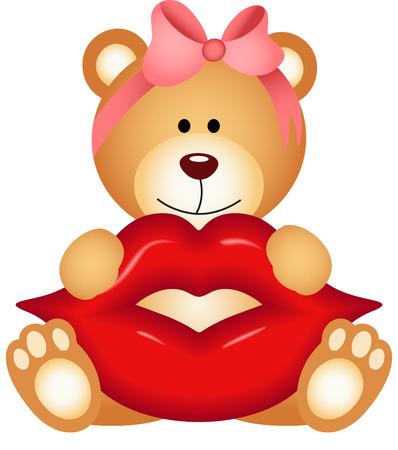 make love: Teddy bear girl holding lips Illustration