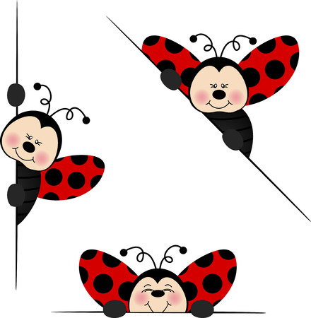 cartoon bug: Ladybird  peeking from behind in various positions