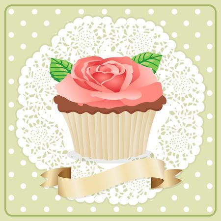 flower rose: Label Rose Flower Cupcake