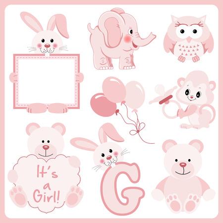 Bébé fille animaux rose clipart numérique