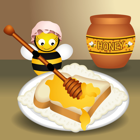 apiculture: Bee putting honey on bread Illustration