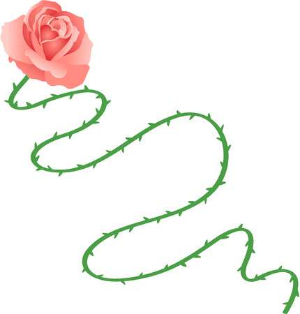 flor caricatura: Rose tallo largo Vectores