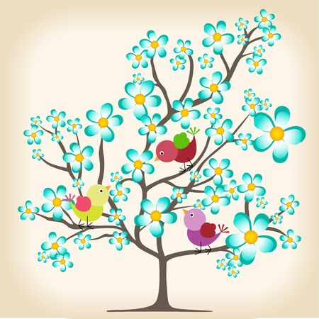 birds in tree: Spring tree with birds background Illustration