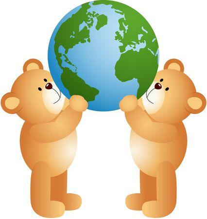 world globe: Teddy bears holding world globe