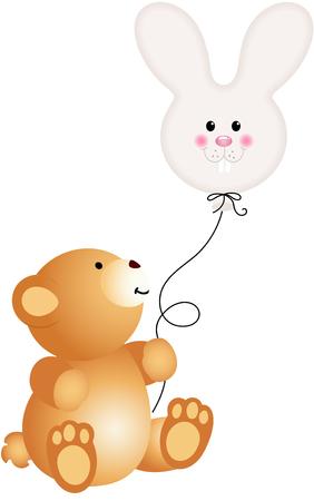 jubilation: Teddy bear with bunny head balloon