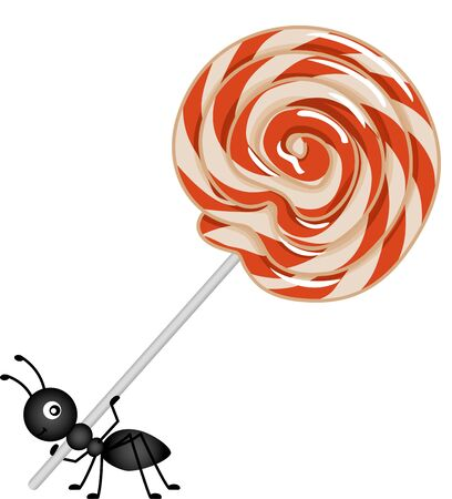 carried: Lollipop being carried by the ant