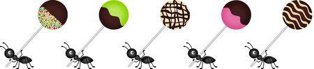 sucking: Ants carrying lollipops