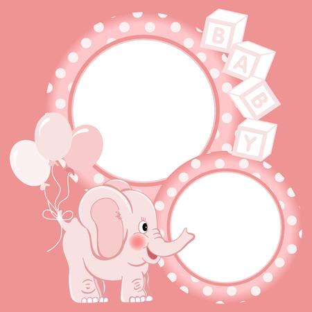 scrapbook frame: Baby elephant pink scrapbook frame