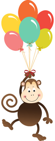 flying monkey: Monkey flying with colorful balloons Illustration