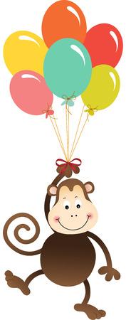 flying monkey: Monkey flying with colorful balloons Illustration