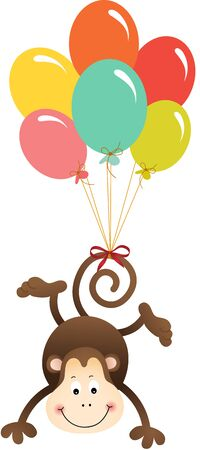 flying monkey: Cute monkey flying with balloons