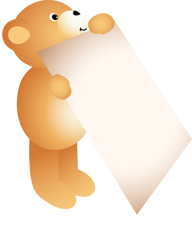 jubilation: Teddy bear holding a blank sign