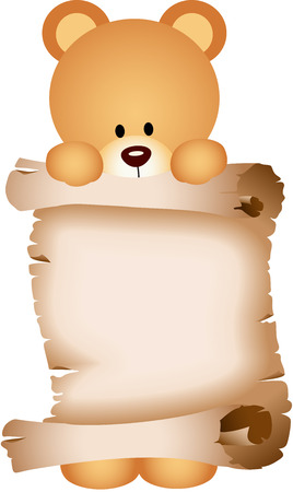 jubilation: Teddy bear holding a parchment Illustration