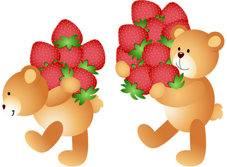 carried: Strawberries being carried by teddy bears