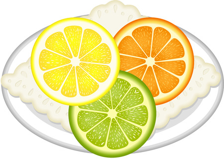 vitality: Citrus fruit slices with dish Illustration