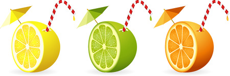 straw: Citrus fruit cut in half with straw