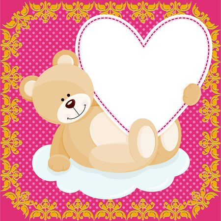 jubilation: Cute teddy bear hugging heart on love background Illustration