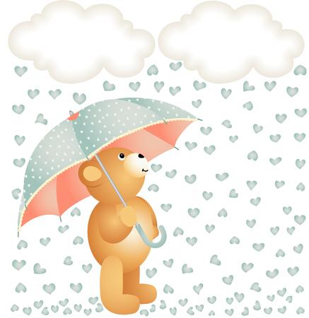 jubilation: Teddy bear with umbrella under the rain of hearts Illustration