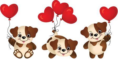 puppies: Dog with heart balloon Illustration