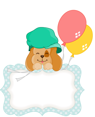 jubilation: Cute dog with balloons blank gift tag