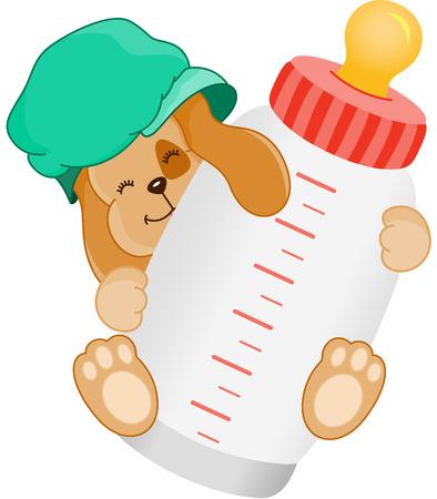 tomando leche: Botella de bebé lindo perro con leche Vectores