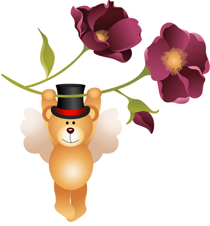 isolated flower: Teddy bear flying with flower