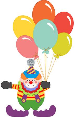 art show: Clown holding balloons