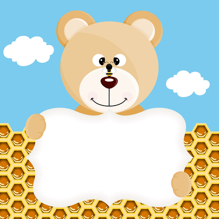 angry teddy: Teddy bear and bee label background