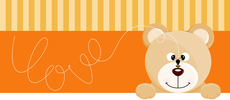 angry teddy: Teddy bear with bee love banner Illustration