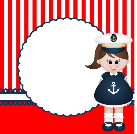 sailor girl: Sailor Girl Background Illustration