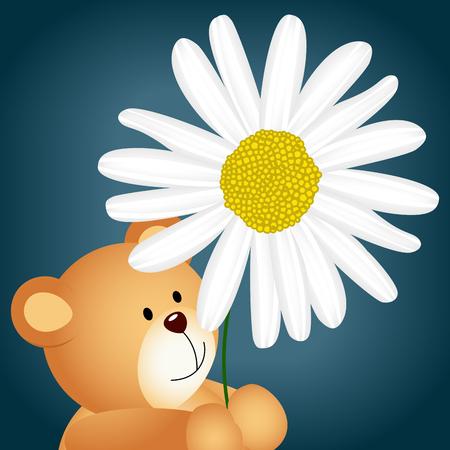 jubilation: Teddy bear with daisy background