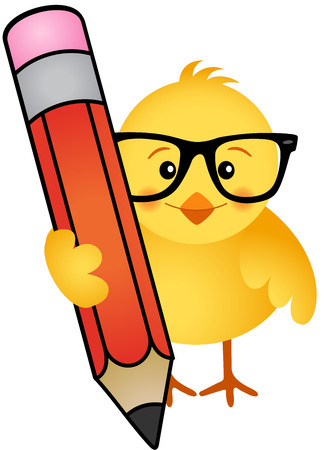 chick: Chick with pencil Illustration