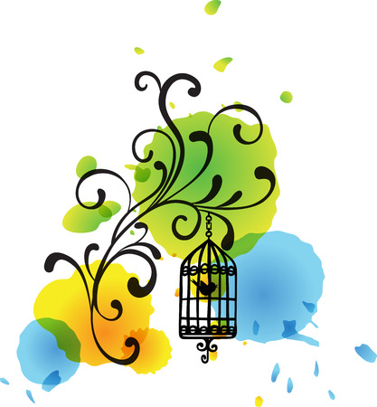 aviary: Floral bird cage watercolor spots background
