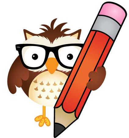 student life: Owl with pencil Illustration