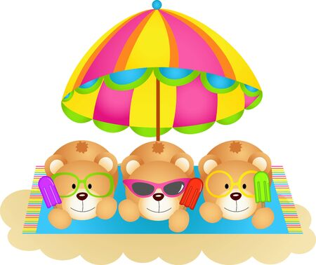 eating ice cream: Three teddy bears soaking up the sun eating ice cream