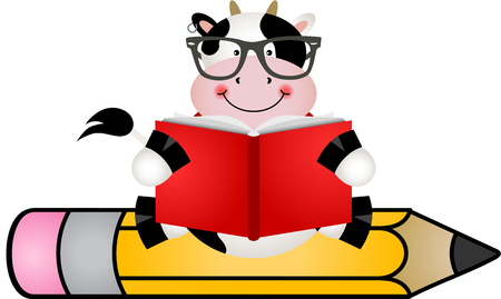 student life: Cow reading book sitting on pencil