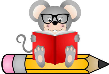 student life: Cute mouse reading book sitting on pencil