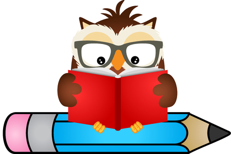 student life: Owl reading book sitting on pencil