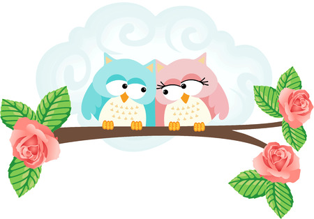 jubilation: Couple in love on branch owls