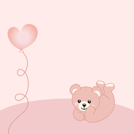 baby girl: Baby girl teddy bear background Illustration
