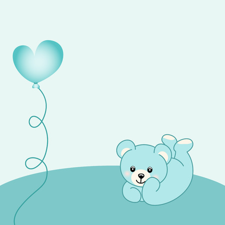 Baby boy teddy bear background Illustration