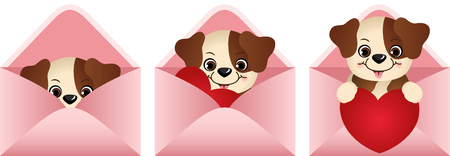 jubilation: Cute dog inside love letter Illustration