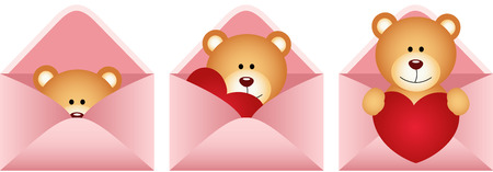 jubilation: Teddy bear inside love letter Illustration