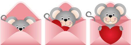 cute mouse: Cute mouse inside love letter Illustration