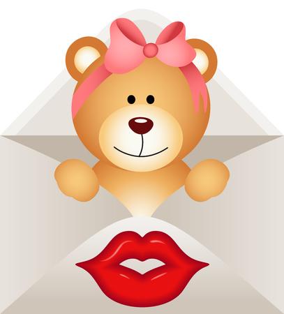 jubilation: Girl teddy bear inside letter